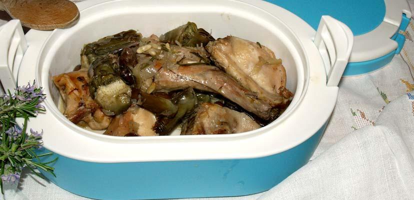 coniglio carciofi e olive